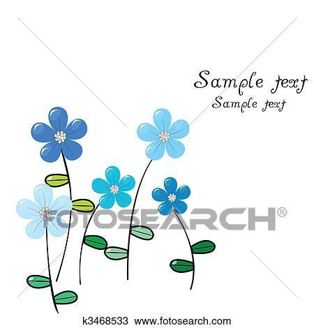 Cartao Cumprimento Com Delicado Flores Azuis Desenho K3468533