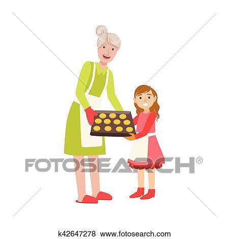 Grand Mère Et Petite Fille Biscuits Traitement Four Partie Grand Père Et Petit Enfant Temps Passager Ensemble Ensemble De Illustrations