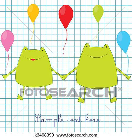 Green Frogs On Math Page Background Clipart K3468390 Fotosearch