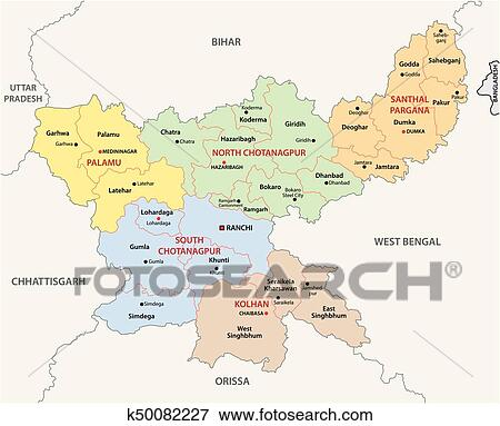 Map Of India Political.Clip Art Of Jharkhand Administrative And Political Map India
