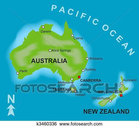mapa australia e nova zelandia Arquivos de Ilustração   mapa, de, austrália nova zelândia  mapa australia e nova zelandia
