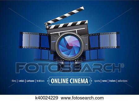 Clip Art Of Online Movie Theater Cinema Icon Design K40024229
