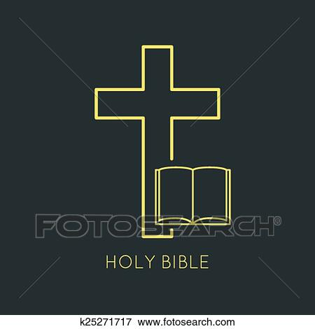 Clip Art Of Open Bible With A Crucifix K25271717 Search Clipart