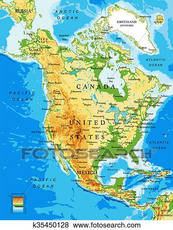 Physical map of North America Stock Photo