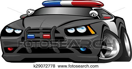 Clip Art Of Police Muscle Car Cartoon Illustrat K29072778 Search