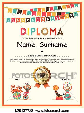 clip art of preschool elementary school kids diploma certificate