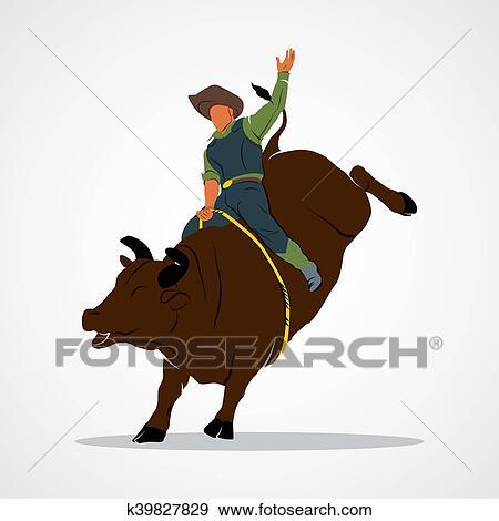 Clip Art - Rodeo Bull Ride. Fotosearch - Search Clipart 9f86dba7698