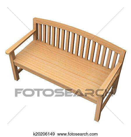 Admirable Stock Illustration Of Wooden Bench On White K20206149 Machost Co Dining Chair Design Ideas Machostcouk