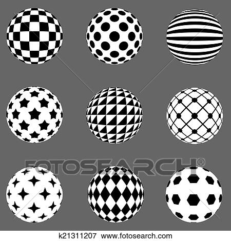 Black And White Flat Design Patterned Sphere Vector Design Elements.