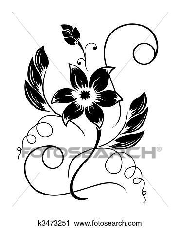 Blume schwarz a wei muster clipart k3473251 fotosearch - Dessin de fleur en noir et blanc ...