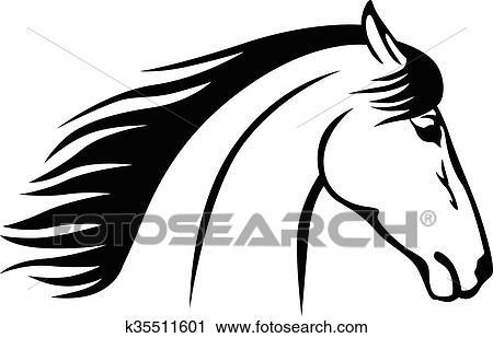 Cheval diriger profil ic ne clipart k35511601 fotosearch - Clipart cheval ...