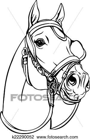 Clipart cheval t te k22290052 recherchez des clip arts des illustrations des dessins et - Clipart cheval ...