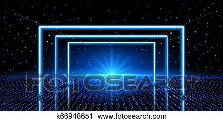 Cosmic Background With Fantastic Hyperspace Neon Arch And Space Portal Into Another Dimension Virtual Reality Fantastic Landscape With Binary Code Clipart K66948651 Fotosearch