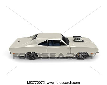 Clip Art Of Cream Colored Vintage American Muscle Car Overhead
