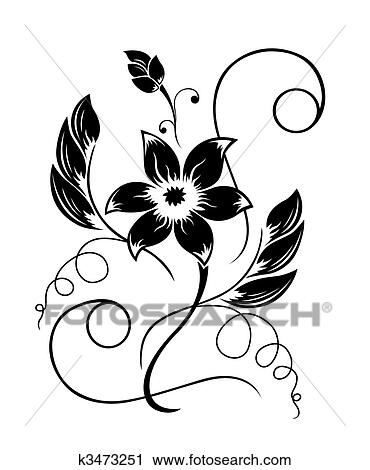 Clipart Of Flower Black A White Pattern K3473251 Search Clip Art