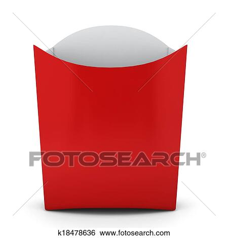 French Fries Container 3d Illustration On White Background