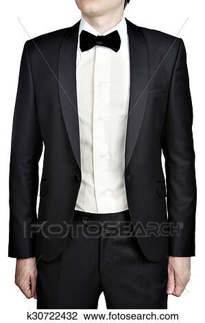 selezione migliore 4f5fc 60341 Grigio scuro, mens, abito da sera, blazer, camicia bianca, arco, tie.  Archivio Immagini