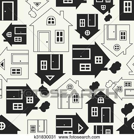 clipart of home sweet home house silhouette and outline seamless