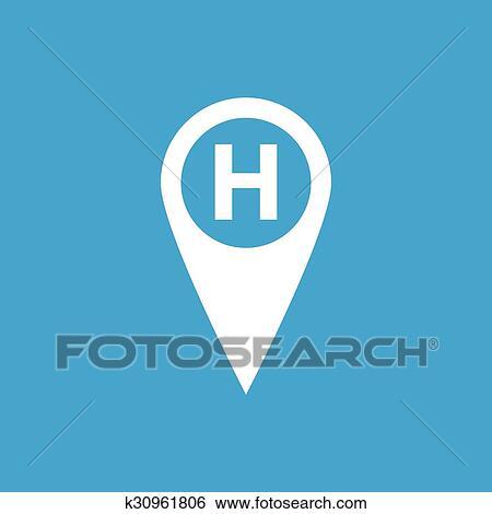 Klinikum Landkarte Markierung Symbol Weiss Clip Art K30961806