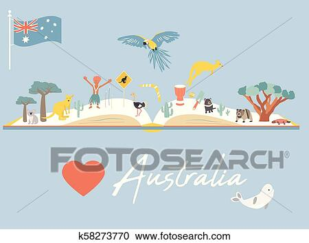 Australia Map Landmarks.Map Of Australia With Landmarks And Wildlife Clipart