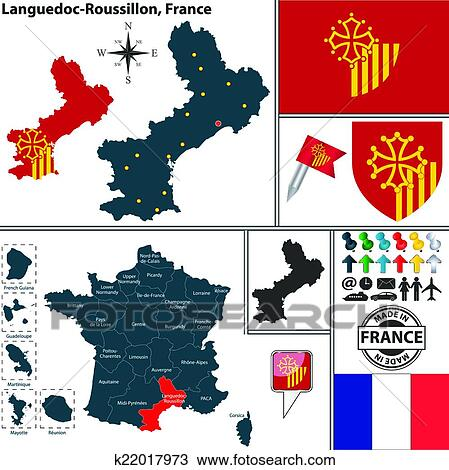 Roussillon France Map.Clipart Of Map Of Languedoc Roussillon France K22017973 Search