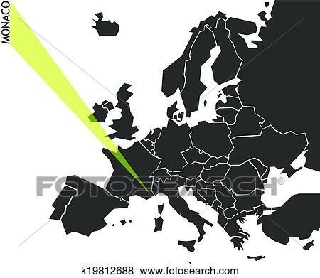 Clip Art Of Monaco Political Map Of Europe K19812688 Search