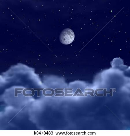 Moon In Space Or Night Sky Through Clouds Drawing K3478483