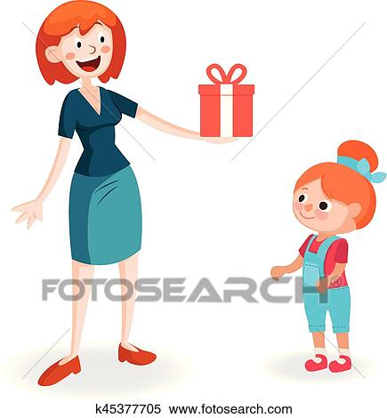 clipart of mother giving gift to daughter k45377705 search clip rh fotosearch com giving clipart black and white giving clipart for fall