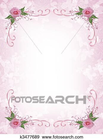 stock illustration of pink roses invitation border k3477689 search