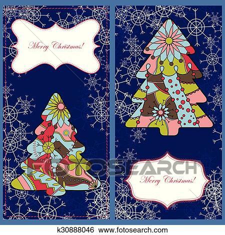 Weihnachtskarten Clipart.Satz Von Weihnachtskarten Mit Bäume Und Schneeflocken Clip Art