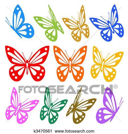 Clipart Set Di Colorito Farfalle Silhouette Vettore