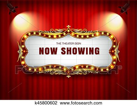Clipart Of Theater Sign On Curtain K45800602