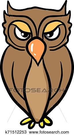 An angry owl, illustration, vector on white background ...