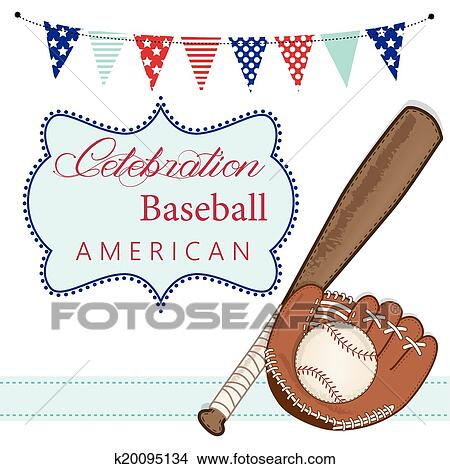 Baseball Mitt Or Glove And Bat With American Patriotic Banners Frame Layout For Sbooking Cards Transpa Background Vector Format Clipart