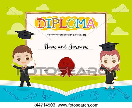 clipart of colorful kids diploma certificate template in cartoon