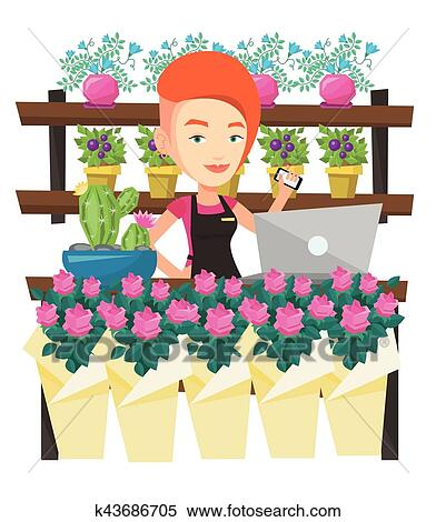 Florist at flower shop vector illustration. Clipart ...