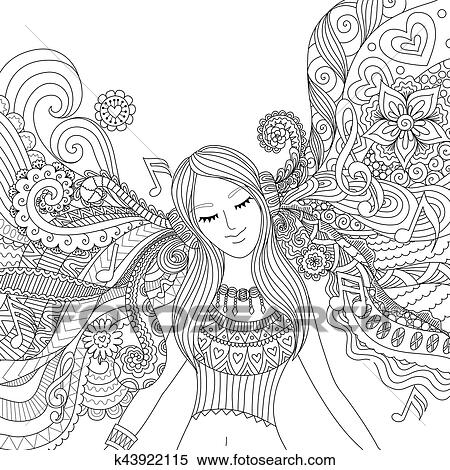 Girl listen to music adult coloring book Clipart | k43922115 ...