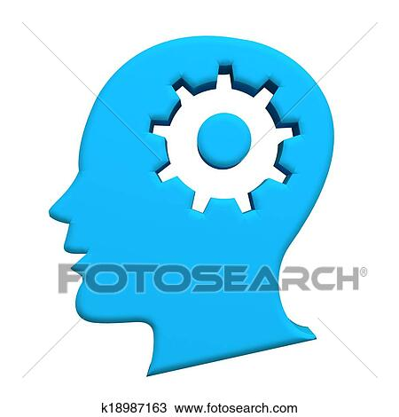 Human head blue gear 3d logo image Drawing | k18987163