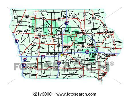 Iowa Interstate Highway Map Clipart
