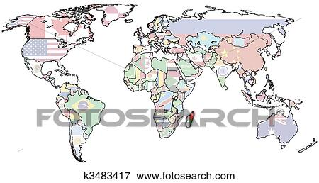 Madagascar on world map Stock Photo | k3483417 | Fotosearch