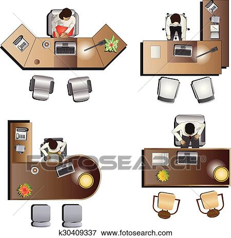 clipart meubles bureau vue dessus ensemble 6 k30409337 recherchez des cliparts des. Black Bedroom Furniture Sets. Home Design Ideas