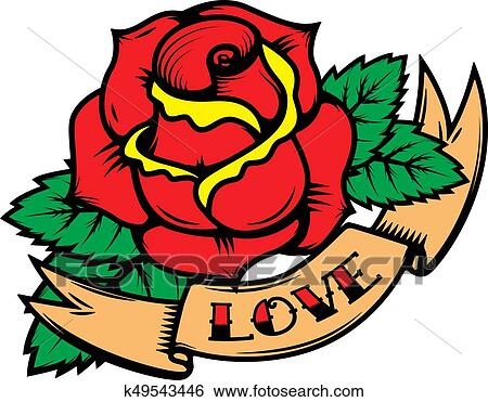 Clip Art Of Old School Tattoo Style Roses With Ribbons Isolated On