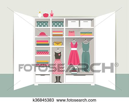 Open Wardrobe White Closet With Tidy Clothes Shirts Sweaters Boxes And Shoes Home Interior Flat Design Vector Illustration