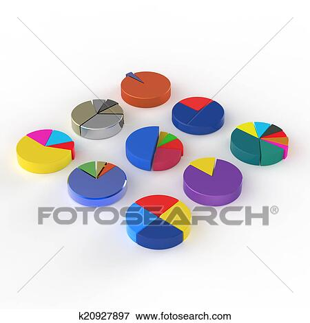 Stock Illustration Of Set Of 3d Different Pie Chart On Isolated