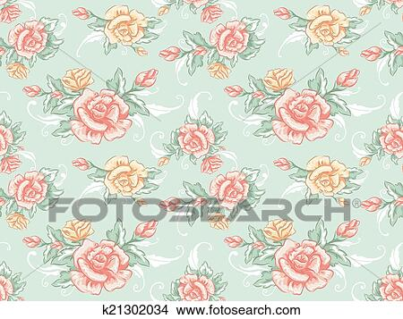 Background Illustration Featuring A Seamless Pattern With Shabby Chic Design