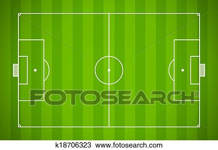 Clipart Of Soccer Field Lining Vector Template On Green Background