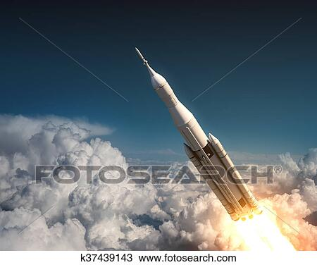 Space Launch System Flying In The Clouds Drawing K37439143