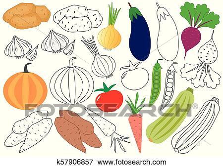 Vegetables. Coloring book. Educational game for children ...
