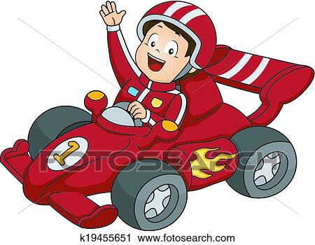 Clipart Of Car Racing Boy K19455651