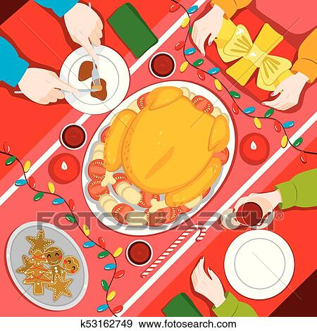 Christmas Family Dinner Concept With Traditional Food And Presents
